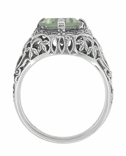 Art Deco Flowers and Leaves Emerald Cut Prasiolite ( Green Amethyst ) Filigree Ring in Sterling Silver - Item SSR16GA - Image 1