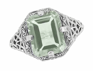 Art Deco Flowers and Leaves Emerald Cut Prasiolite ( Green Amethyst ) Filigree Ring in Sterling Silver - Item SSR16GA - Image 2