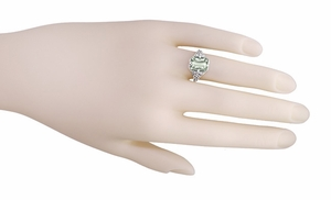 Art Deco Flowers and Leaves Emerald Cut Prasiolite ( Green Amethyst ) Filigree Ring in Sterling Silver - Click to enlarge