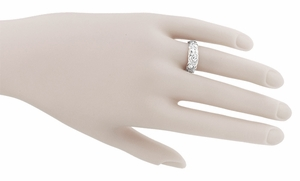Engraved Roses Retro Wedding Ring in 14 Karat White Gold - Click to enlarge