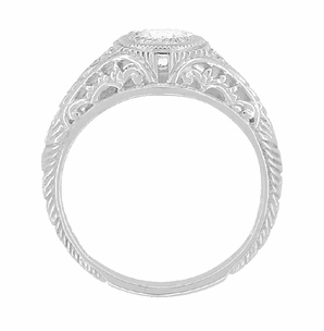 Art Deco Filigree White Sapphire Palladium Engagement Ring - Item R138PDMWS - Image 1