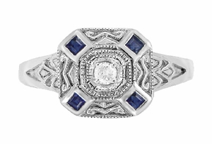 Art Deco Square Sapphires and Diamond Engraved Engagement Ring in Sterling Silver - Click to enlarge