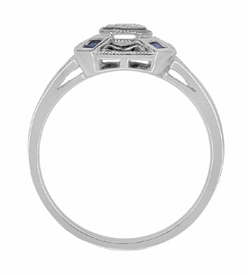 Art Deco Square Sapphires and Diamond Engraved Engagement Ring in Sterling Silver - Item SSR17 - Image 2