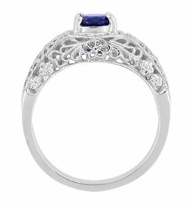 Edwardian Filigree Flowers Blue Sapphire Dome Ring in Sterling Silver - Click to enlarge
