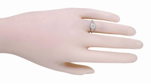 Art Deco Filigree Flowers Vintage Style White Sapphire Engagement Ring in 14K White Gold   Low Profile - Item R706WWS - Image 3