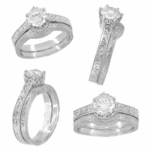 Art Deco Crown Filigree Scrolls Engraved 1 Carat White Sapphire Engagement Ring in 18 Karat White Gold - Item R199W75WS - Image 5
