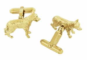German Shepherd Cufflinks in Sterling Silver with Yellow Gold Finish - Click to enlarge