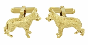 German Shepherd Cufflinks in Sterling Silver with Yellow Gold Finish - Item SCL231Y - Image 2