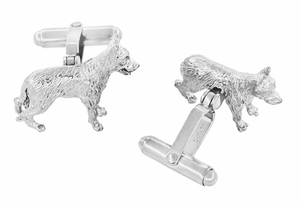 German Shepherd Cufflinks in Sterling Silver  - Item SCL231W - Image 1