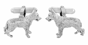 German Shepherd Cufflinks in Sterling Silver  - Item SCL231W - Image 2