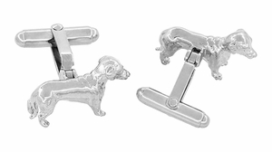 Dachshund Cufflinks in Sterling Silver - Item SCL233W - Image 2