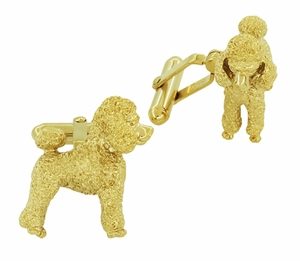 Poodle Cufflinks in Sterling Silver with Yellow Gold Finish - Item SCL234Y - Image 1