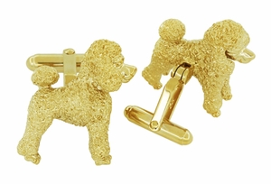 Poodle Cufflinks in Sterling Silver with Yellow Gold Finish - Item SCL234Y - Image 2