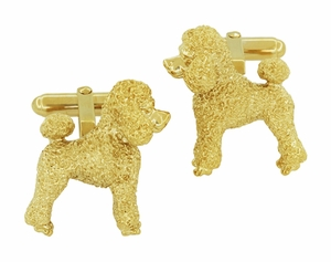Poodle Cufflinks in Sterling Silver with Yellow Gold Finish - Item SCL234Y - Image 3