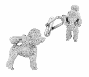 Poodle Cufflinks in Sterling Silver - Item SCL234W - Image 1