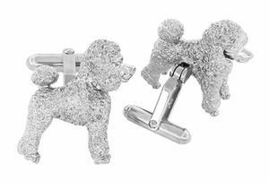Poodle Cufflinks in Sterling Silver - Item SCL234W - Image 2