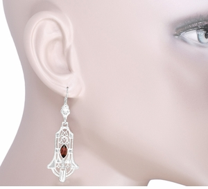 Art Deco Geometric Almandite Garnet Dangling Filigree Earrings in Sterling Silver, Rhodium Vintage 1920s Marquise Almandine Design - Click to enlarge