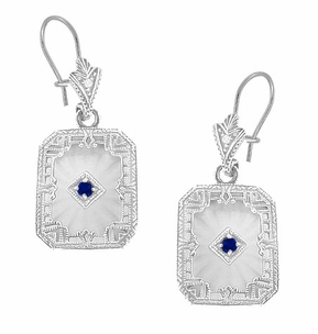 Art Deco Filigree Sapphire, Diamond and Sun Ray Crystal Dangling Earrings in Sterling Silver, Vintage Repro Camphor Earrings Design - Click to enlarge