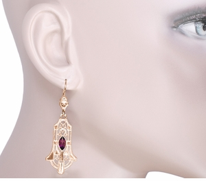 Art Deco Geometric Rhodolite Garnet Dangling Rose Gold Vermeil Filigree Earrings in Sterling Silver - Click to enlarge