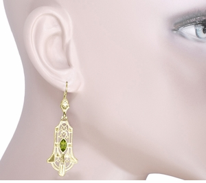 Art Deco Geometric Dangling Filigree Peridot Earrings in Sterling Silver with Yellow Gold Vermeil - Click to enlarge
