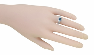 X & O Kisses 1 Carat Princess Cut Aquamarine Engagement Ring in Platinum - Item R701PA - Image 5