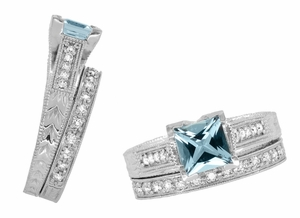 X & O Kisses 1 Carat Princess Cut Aquamarine Engagement Ring in Platinum - Item R701PA - Image 6