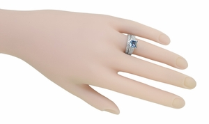 X & O Kisses 1 Carat Princess Cut Aquamarine Engagement Ring in Platinum - Item R701PA - Image 7