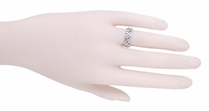 Filigree Calla Lilies Wedding Band in 14 Karat White Gold - Item R242 - Image 1