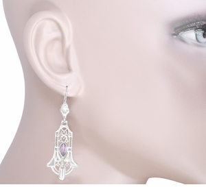 Art Deco Geometric Rose de France Amethyst Dangling Filigree Earrings in Sterling Silver - Click to enlarge
