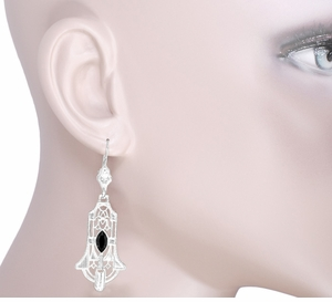 Art Deco Geometric Black Onyx Dangling Sterling Silver Filigree Earrings - Click to enlarge