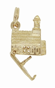 Church with Hidden Bride and Groom Movable Vintage Charm in 10 Karat Gold - Click to enlarge