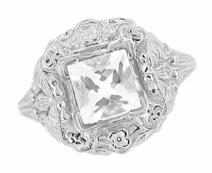 Princess Cut White Topaz Art Nouveau Ring in Sterling Silver - Click to enlarge
