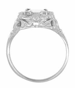 Princess Cut WhiteTopaz Art Nouveau Engagement Ring in Sterling Silver - Click to enlarge
