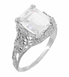 Edwardian Filigree Emerald Cut White Topaz Ring in Sterling Silver - Click to enlarge
