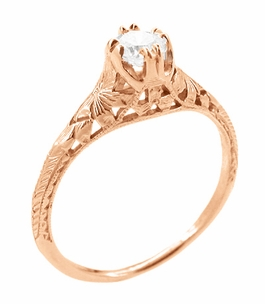 Art Deco Filigree Flowers and Wheat White Sapphire Engraved Engagement Ring in 14 Karat Rose Gold - Item R356R33WS - Image 1
