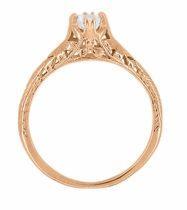 Art Deco Filigree Flowers and Wheat White Sapphire Engraved Engagement Ring in 14 Karat Rose Gold - Item R356R33WS - Image 2