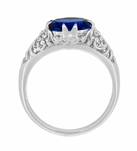 Oval Lab Created Blue Sapphire Filigree Edwardian Engagement Ring in Sterling Silver - Item R1125S - Image 2