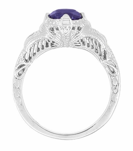Art Deco Blue Iolite Engraved Filigree Engagement Ring in 14 Karat White Gold - Item R161W75i - Image 1