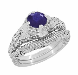 Art Deco Blue Iolite Engraved Filigree Engagement Ring in 14 Karat White Gold - Click to enlarge