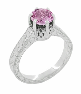 Art Deco Crown Filigree Scrolls 1 Carat Pink Sapphire Engraved Engagement Ring in 18 Karat White Gold - Click to enlarge