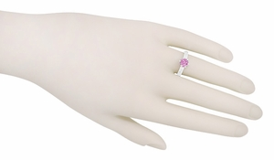 Art Deco Crown Filigree Scrolls 1 Carat Pink Sapphire Engraved Engagement Ring in 18 Karat White Gold - Item R199WPS - Image 6