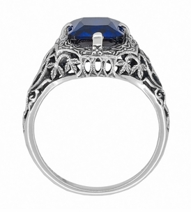 Art Deco Flowers and Leaves Lab Created Blue Sapphire Filigree Ring in Sterling Silver - Click to enlarge