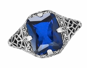 Art Deco Flowers and Leaves Lab Created Blue Sapphire Filigree Ring in Sterling Silver - Item SSR16S - Image 3