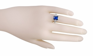 Art Deco Flowers and Leaves Lab Created Blue Sapphire Filigree Ring in Sterling Silver - Item SSR16S - Image 4