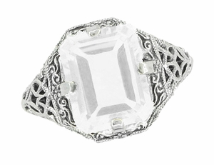 Art Deco White Topaz Filigree Ring in Sterling Silver - Item SSR16WT - Image 2