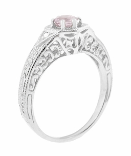 Art Deco Morganite and Diamond Filigree Engraved Engagement Ring in 14 Karat White Gold - Item R149WM - Image 1