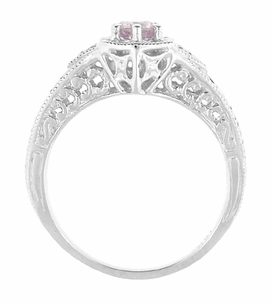 Art Deco Morganite and Diamond Filigree Engraved Engagement Ring in 14 Karat White Gold - Click to enlarge