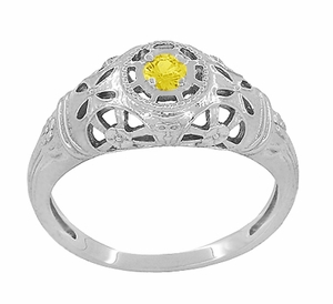 Art Deco Filigree Yellow Sapphire Ring in 14 Karat White Gold - Item R428WYES - Image 1