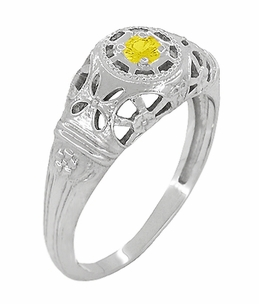 Art Deco Filigree Yellow Sapphire Ring in 14 Karat White Gold - Item R428WYES - Image 2