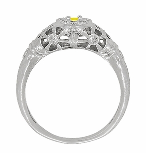 Art Deco Filigree Yellow Sapphire Ring in 14 Karat White Gold - Item R428WYES - Image 3